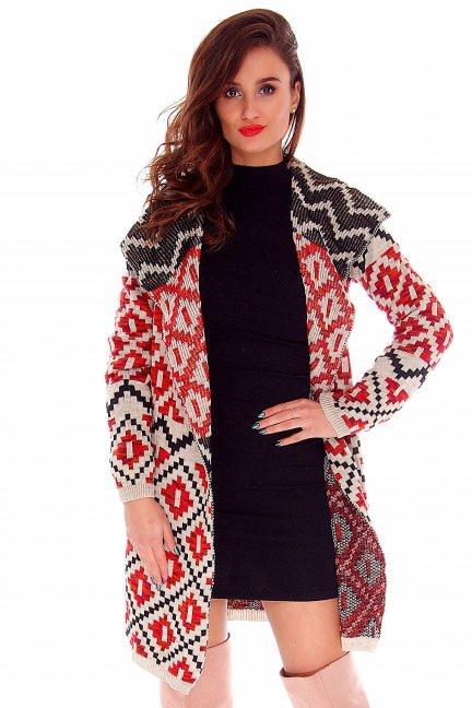 Sweter azteckie wzory CMK2017 beżowy