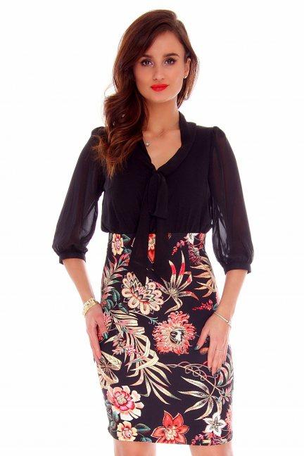 Sukienka ołówkowa kwiaty CMK724 czarna