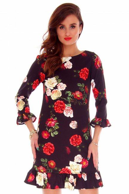 Sukienka trapezowa róże CMK725 czarna