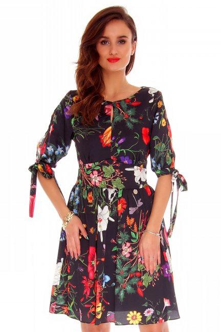 Sukienka elegancka kwiaty CMK726 czarna