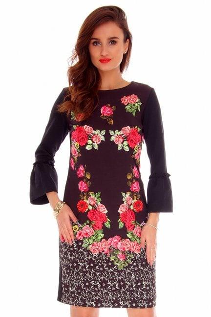 Sukienka dopasowana róże CMK728 czarna