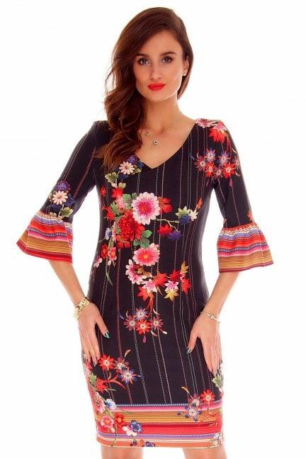 Sukienka falbany róże CMK729 czarna