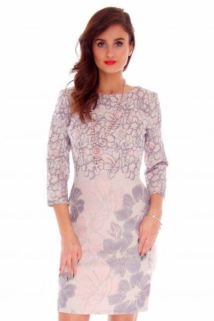 Sukienka elegancka kwiaty CMK730 różowa