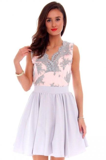 Sukienka rozkloszowana CMK226 szara