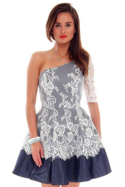 Sukienka rozkloszowana CMW17 granatowa