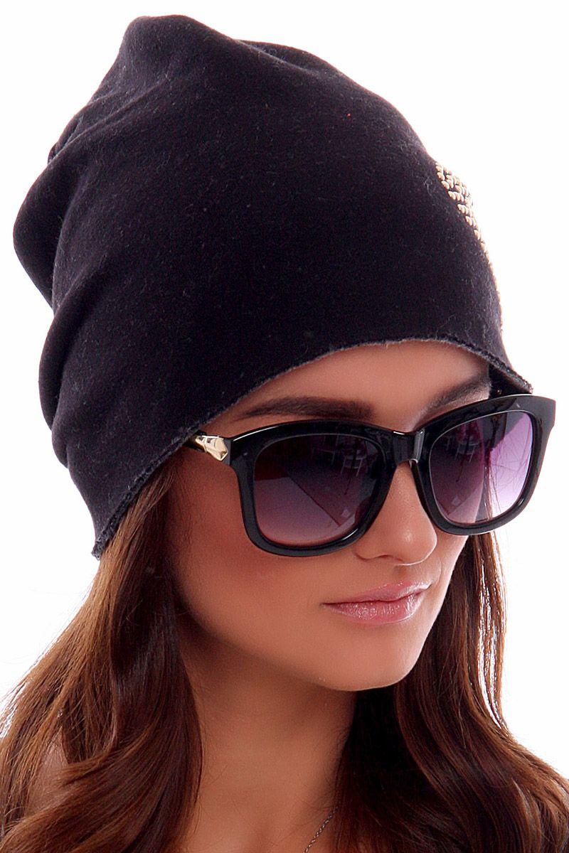 287f005ae97d26 Czapka bawełniana serce CMC009 czarna czapki zimowe sklep CosmosModa