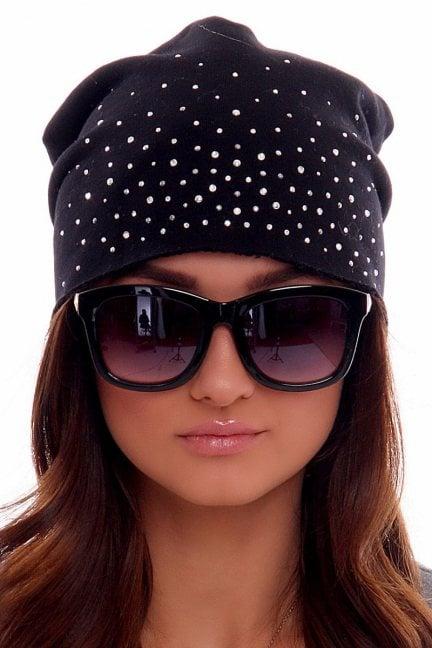 Czapka modna z cekinami CMC009 czarna