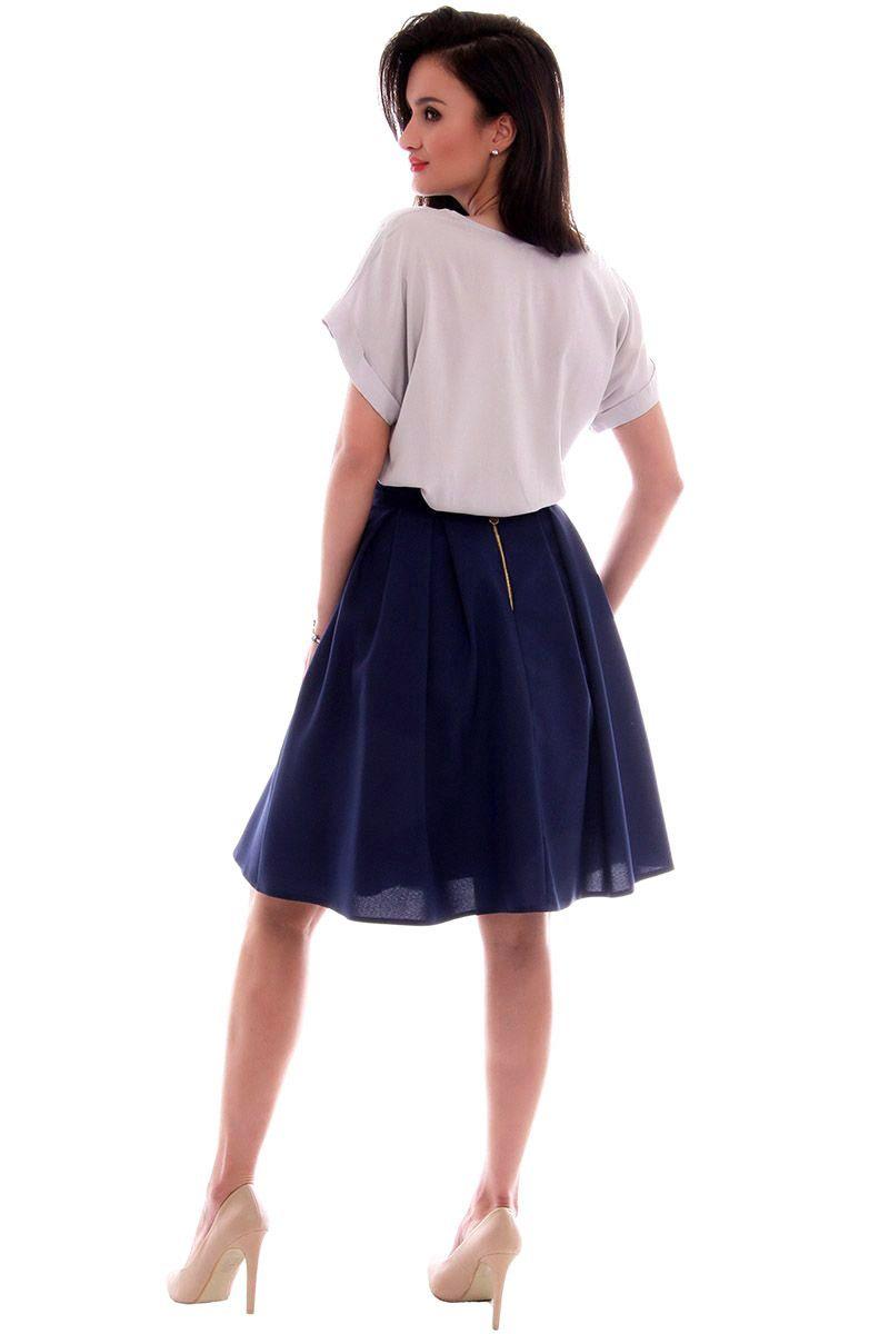 ba769d99 Spódnica elegancka z koła CMK611 granatowa modna odzież w CosmosModa