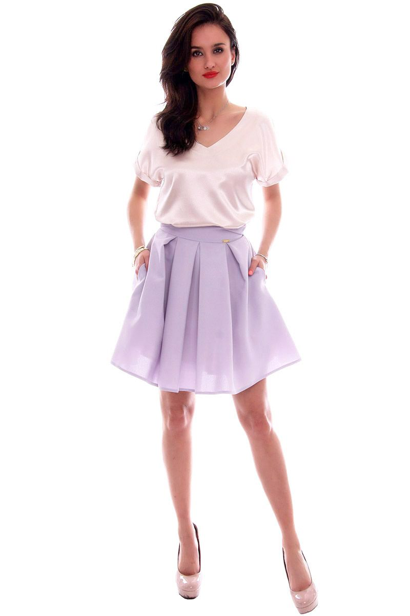 3cb1bd04 Spódnica elegancka z koła CMK611 szara modna odzież w CosmosModa