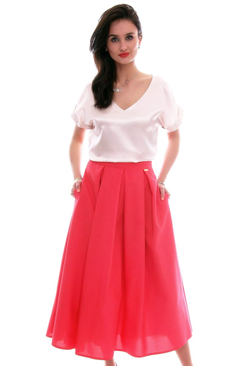 1831ebf0da Spódnica rozkloszowana midi CMK610 czerwona modne spódnice CosmosModa