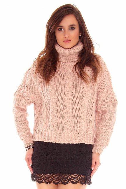 Sweter oversize z golfem CMK740 morelowy