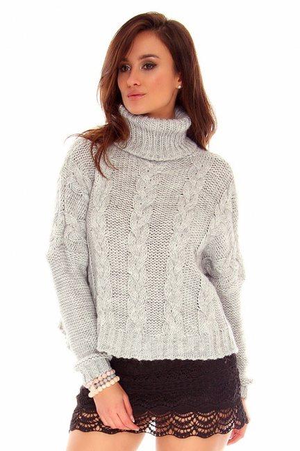 Sweter oversize z golfem CMK740 szary