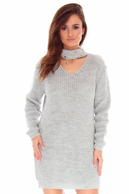 Sweter choker koraliki CMK741 szary