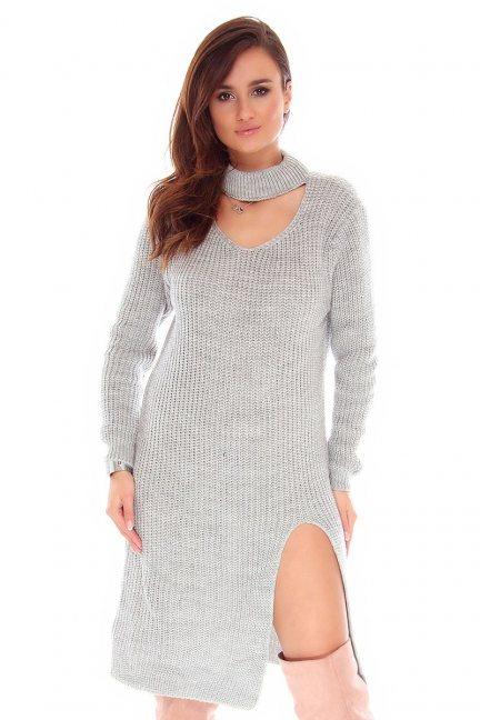 Sweter długi z chokerem CMK742 szary