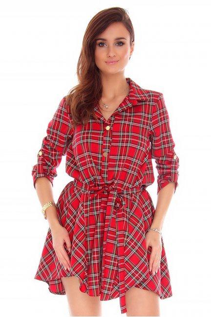 Sukienka koszulowa kratka CMK743 czerwona