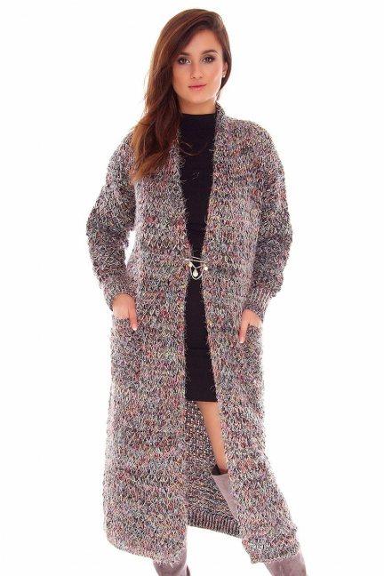 Sweter kardigan długi CMK745 czarny