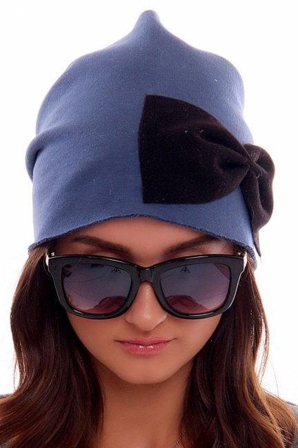 Czapka bawełna z kokardą CMC006 niebieska