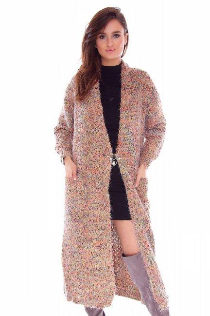 Sweter kardigan długi CMK745 pomarańczowy