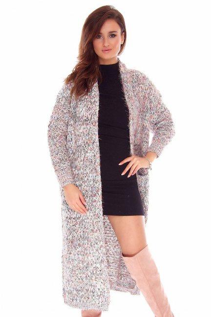 Sweter kardigan długi CMK745 szary