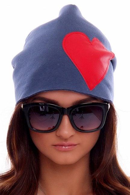 Czapka bawełna ciepła serce CMC004 niebieska