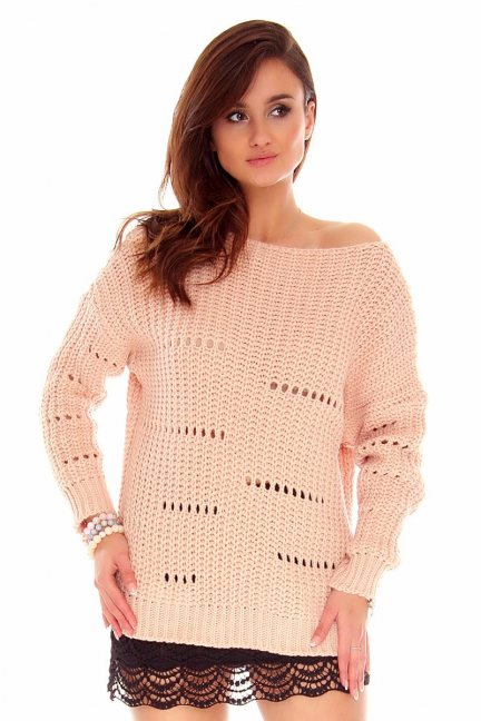 Sweter damski oversize CMK751 morelowy