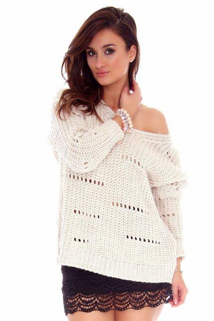 Sweter damski oversize CMK751 beżowy