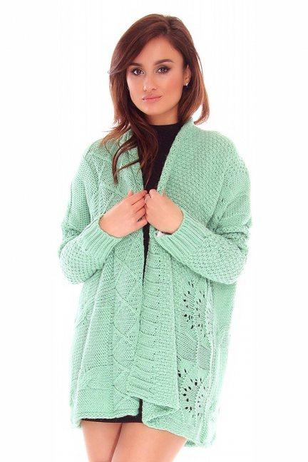 Sweter kardigan narzutka CMK2055 miętowy