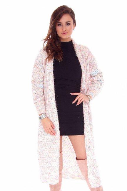 Sweter kardigan długi CMK745 różowy