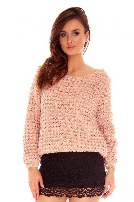 Sweter ciepły ażurowy CMK754 morelowy
