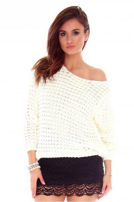 Sweter ciepły ażurowy CMK754 ecru