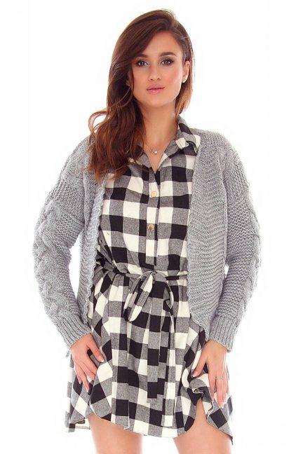 Sweter damski bolerko CMK755 szary