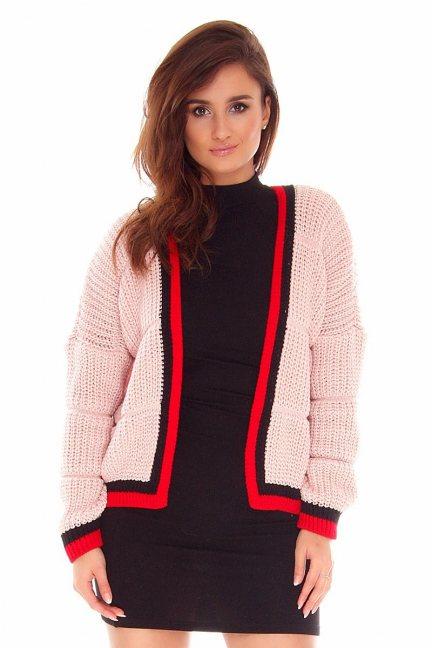 Sweter damski z lampasami CMK2054 różowy