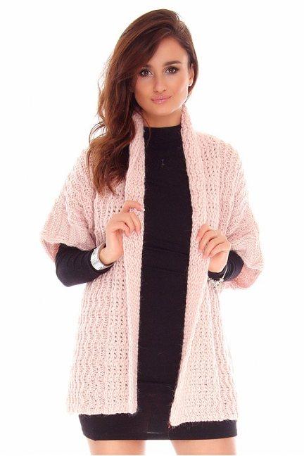 Narzutka damska sweter CMK2050 pudrowy róż