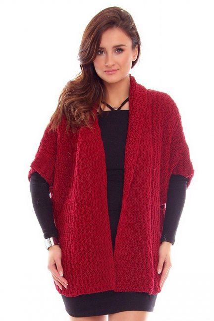 Narzutka damska sweter CMK2050 bordowa