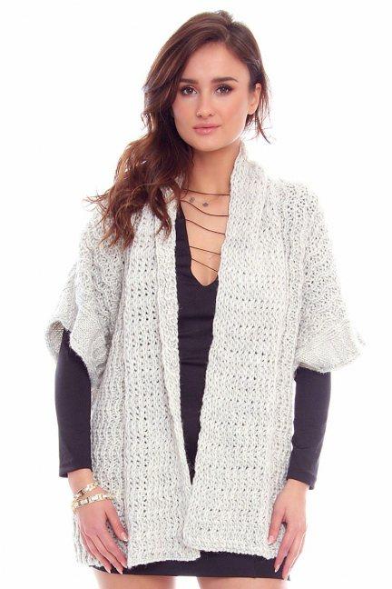 Narzutka damska sweter CMK2050 szara