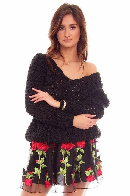 Sweter ażurowy warkocz CMK750 czarny