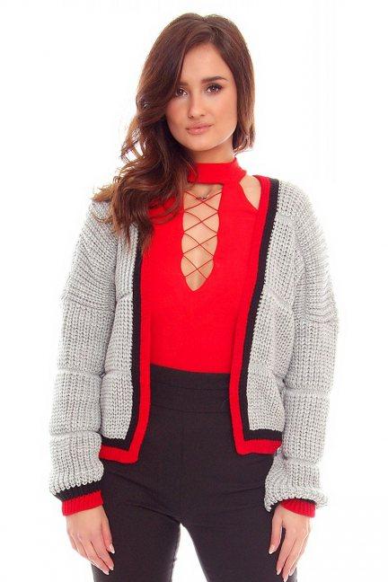 Sweter damski z lampasami CMK2054 szary