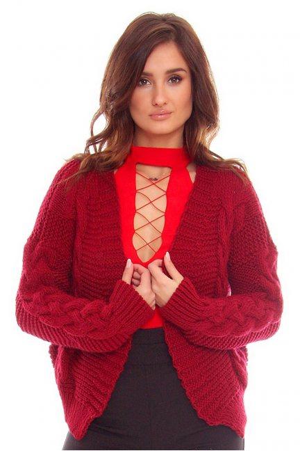 Sweter damski bolerko CMK755 bordowy