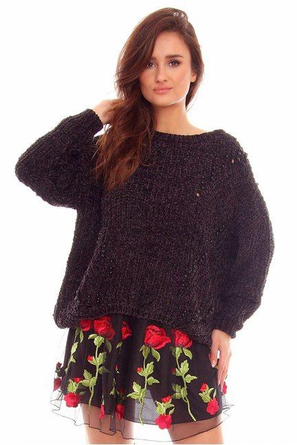 Sweter damski z perełkami CMK749 czarny