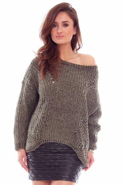 Sweter damski z perełkami CMK749 khaki