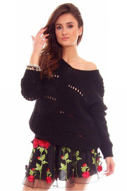 Sweter damski oversize CMK751 czarny