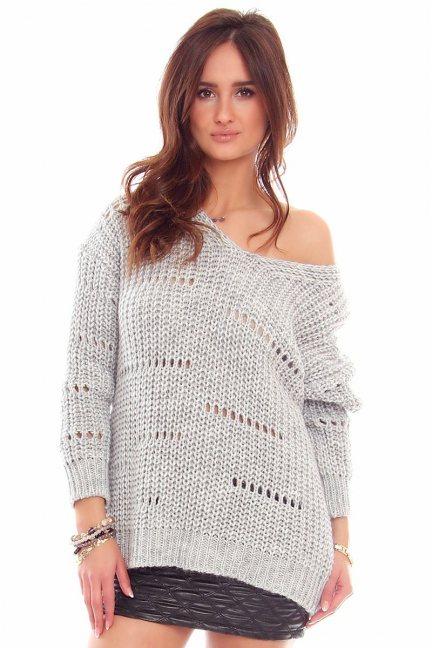 Sweter damski oversize CMK751 jasny szary
