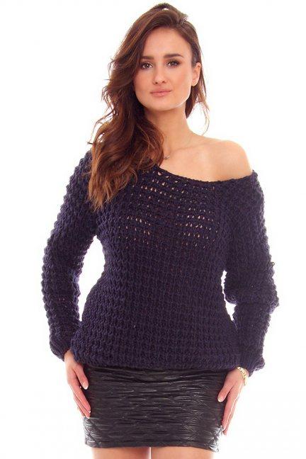 Sweter ciepły ażurowy CMK754 granatowy