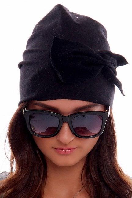 Czapka bawełniana z kokardą CMC005 czarna