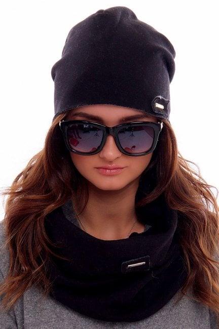Ciepła czapka z kominem CMC018 czarna