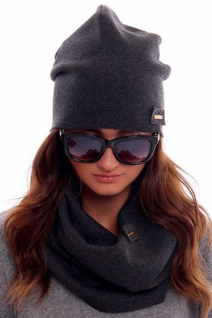 Ciepła czapka z kominem CMC018 grafitowa