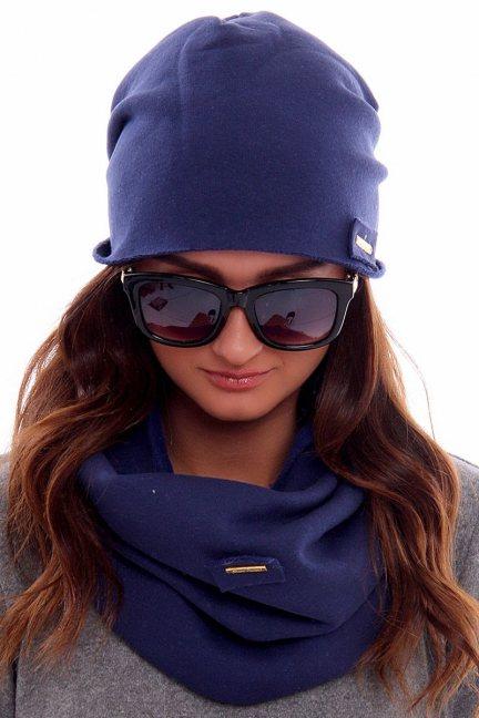 Ciepła czapka z kominem CMC018 niebieska