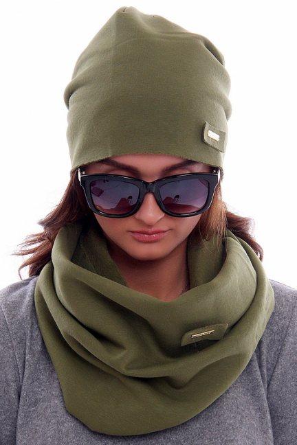 Ciepła czapka z kominem CMC018 zielona