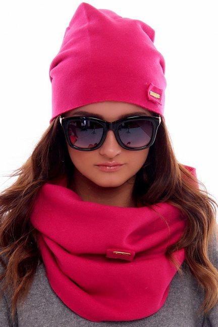 Ciepła czapka z kominem CMC018 różowa