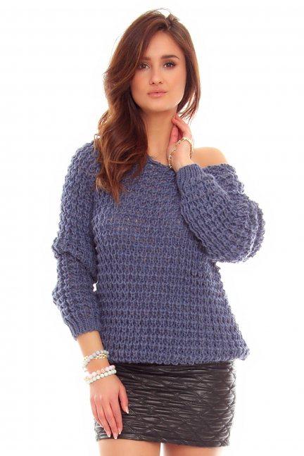 Sweter ciepły ażurowy CMK754 niebieski